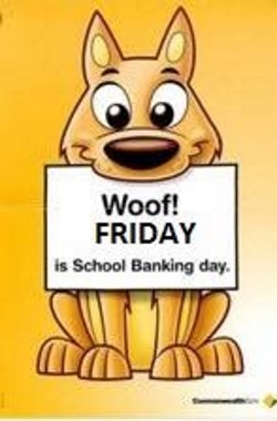 Dog with sign in mouth about school banking day