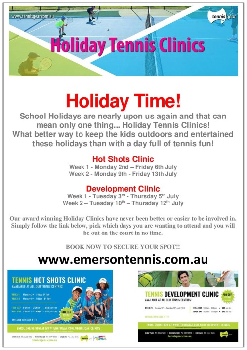 Holiday tennis clinics poster
